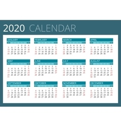 Calendar for 2020 Week Starts Sunday Simple vector image vector image
