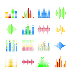 colorful musical equalizers in form of columns and vector image