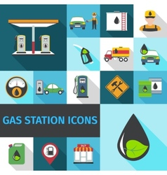 Gas Station Icons Flat vector image vector image