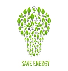 Light bulbs with green plants in a shape of lamp vector image