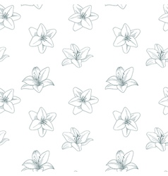 Silver and white seamless pattern with lily Silver vector image vector image