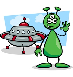 alien with ufo cartoon vector image vector image