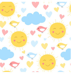 cartoon sun cloud heart and bird background vector image