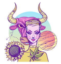 girl symbolizes the zodiac sign taurus pastel vector image