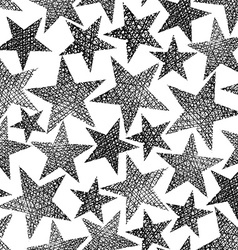 Stars seamless pattern repeating black and white vector image vector image