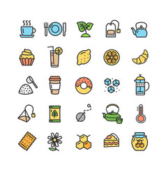 tea ceremony color thin line icon set vector image vector image