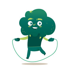 funny smiling broccoli character with jumping rope vector image