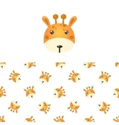 Giraffe Head Icon And Pattern vector image