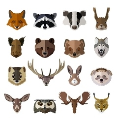 Set of forest animals faces isolated icons Flat vector image