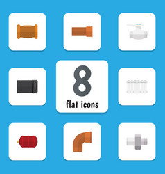 Flat icon industry set of pipe radiator cast and vector