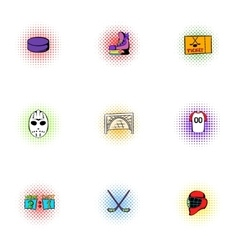 Hockey game icons set pop-art style vector image vector image