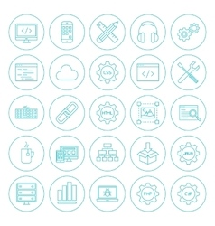Line Circle Programming Icons vector image vector image