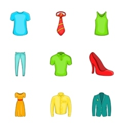 Outfits icons set cartoon style vector image vector image