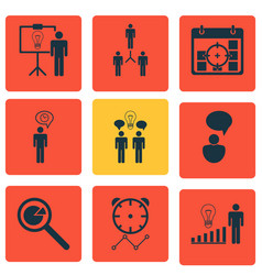 Set of 9 management icons includes opinion vector