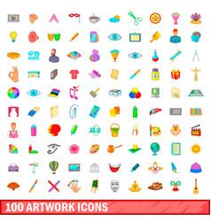 100 artwork icons set cartoon style vector