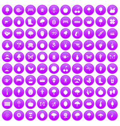 100 gardening icons set purple vector