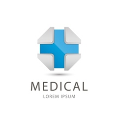3d blue cross medical icon vector
