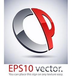 3D modern CP logo icon vector