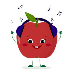 A cute red apple character in cartoon style vector