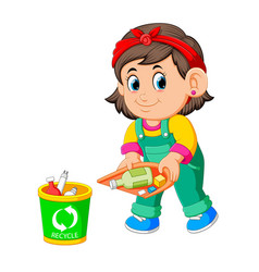 A girl keep clean environment by trush in rubbish vector