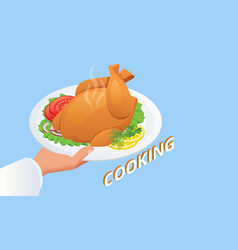 A restaurant chef cooks a turkey dinner isometric vector