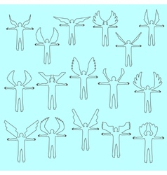 Angels linear icon set Different wing styles vector image