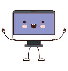 Animated kawaii desktop computer in colorful vector