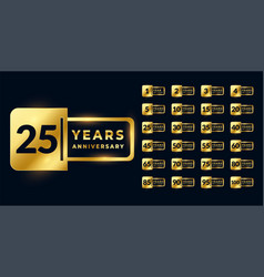 Anniversary golden badge labels big set vector