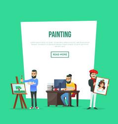 Art school classes poster with artists vector