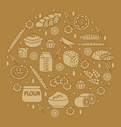Bakery products round-shape vector