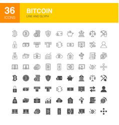 bitcoin line web glyph icons vector image