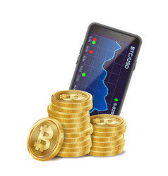 Bitcoin trading chart 3d coins currency vector