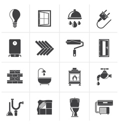 Black Construction and home renovation icons vector