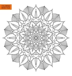 Black Mandala Flower for Coloring Book vector image