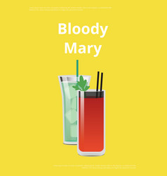 bloody mary promo poster with tomatoe cocktail vector image