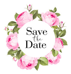 botanical save date wreath vector image