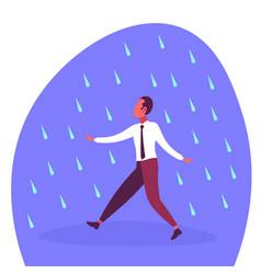 businessman running under rain unprotected rainy vector image