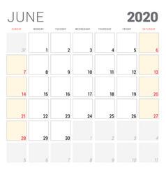 Calendar planner for june 2020 week starts on vector