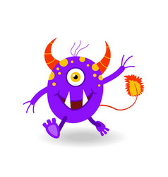 Cartoon horned and tailed cheerful monster vector