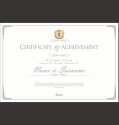 Certificate or diploma retro design template 3 vector
