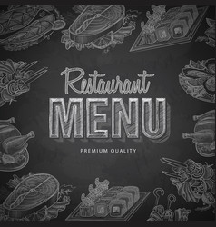 Chalk drawing typography restaurant menu design vector