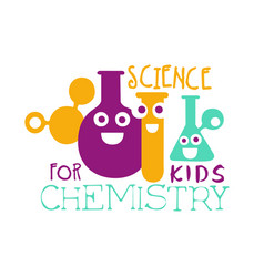 Chemistry science for kids logo symbol colorful vector