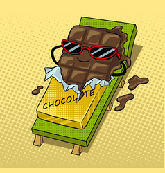 Chocolate melts beach pop art vector