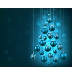 Christmas tree with blue christmas balls vector image