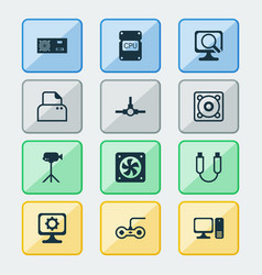 computer icons set with gamepad cpu fan paper vector image