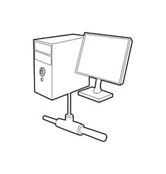 Computer monitor and cpu unit icon outline style vector image