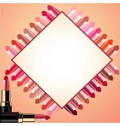 Cosmetics Lipstick border frame vector image