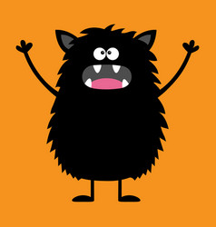 Cute black silhouette monster icon happy vector