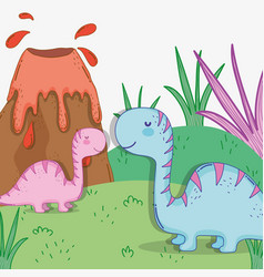 Cute diplodocus couple wildlife with volcano vector