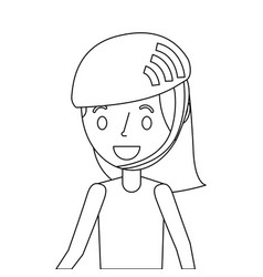 cute young girl smiling with sport helmet vector image
